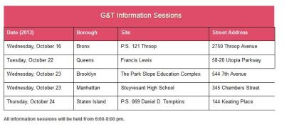 nyc gifted and talented information sessions
