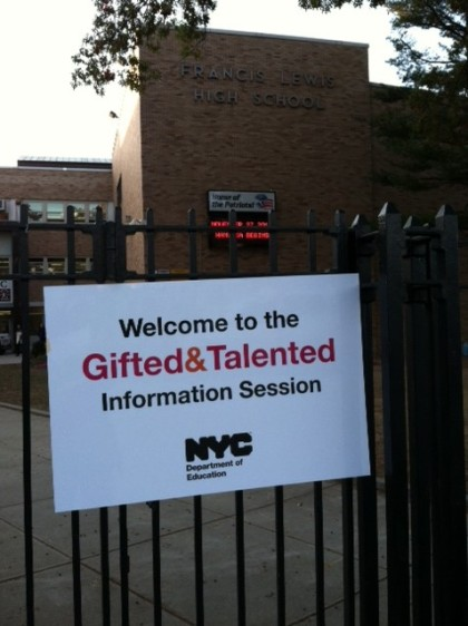 In Queens for the DOE information session for parents for gifted and talented testing.