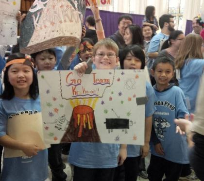 PS 33 Chelsea Prep students cheering loud and strong for their winning entry to the competition.