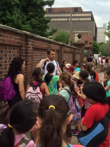 The kids from Chelsea Prep on the walking tour of Philadelphia