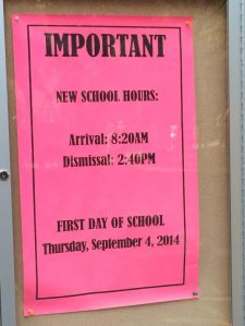 New school hours this year for PS 33 Chelsea Prep! Starting ten minutes earlier and getting our ten minutes earlier. Rise and shine little ones!