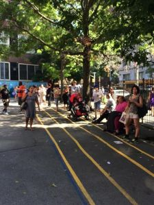 Swarms of parents waiting in the playground after school wondering when their child will emerge from the school cafeteria and run into their arms. Or will they just want to stay and play with friends on the slides?